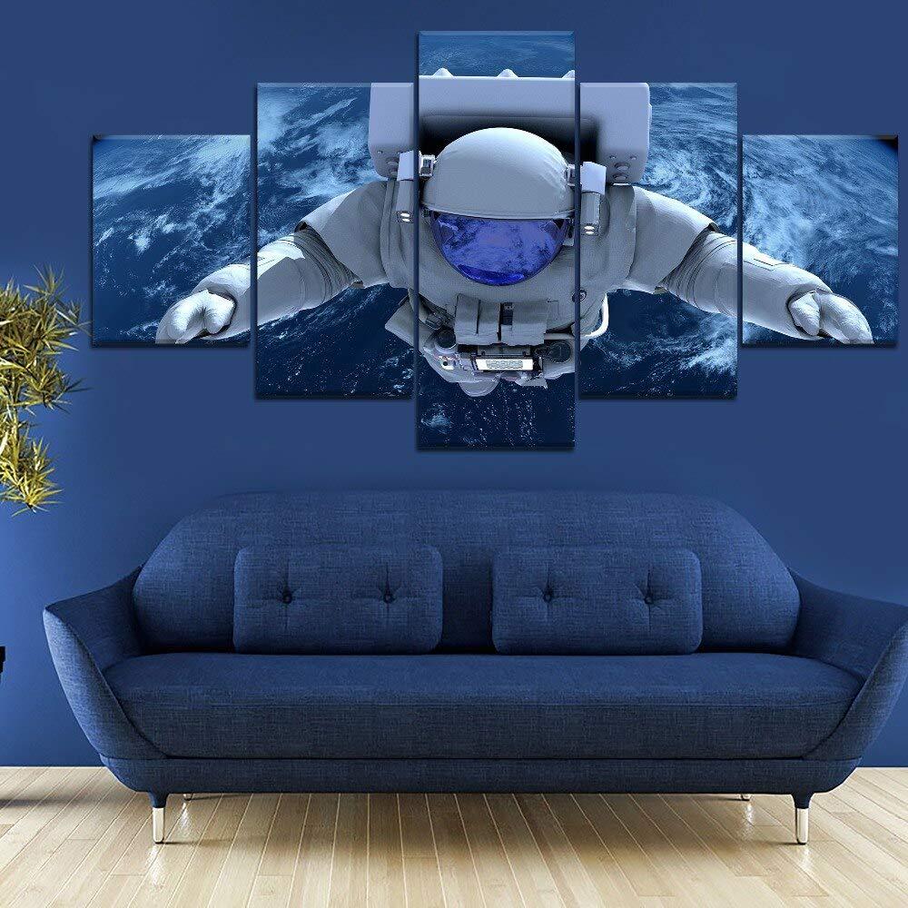 mmwin 5 Panel cosmonauta Espacio Paisaje Lienzo Impreso para Sala ...