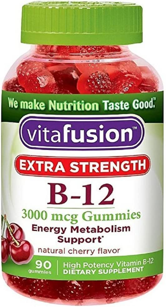 Vitafusion Extra Strength B-12 Gummies, Natural Cherry 90 ea Pack of 10