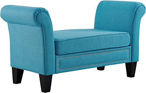 Modway Rendezvous Upholstered Bench with Rolled Arms and Nailhead Trim in Pure Water