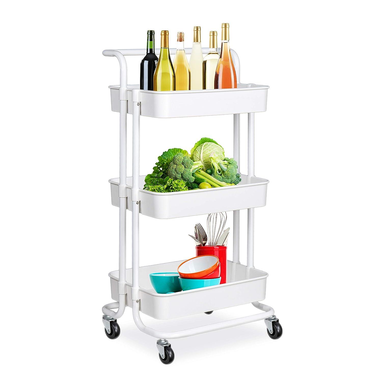 Alvorog Rollwagen Küchewagen Allzweckwagen Servierwagen Roll Regal Für Küche  Bad Büro Mit Rollen 3 Etagen Weiß ...