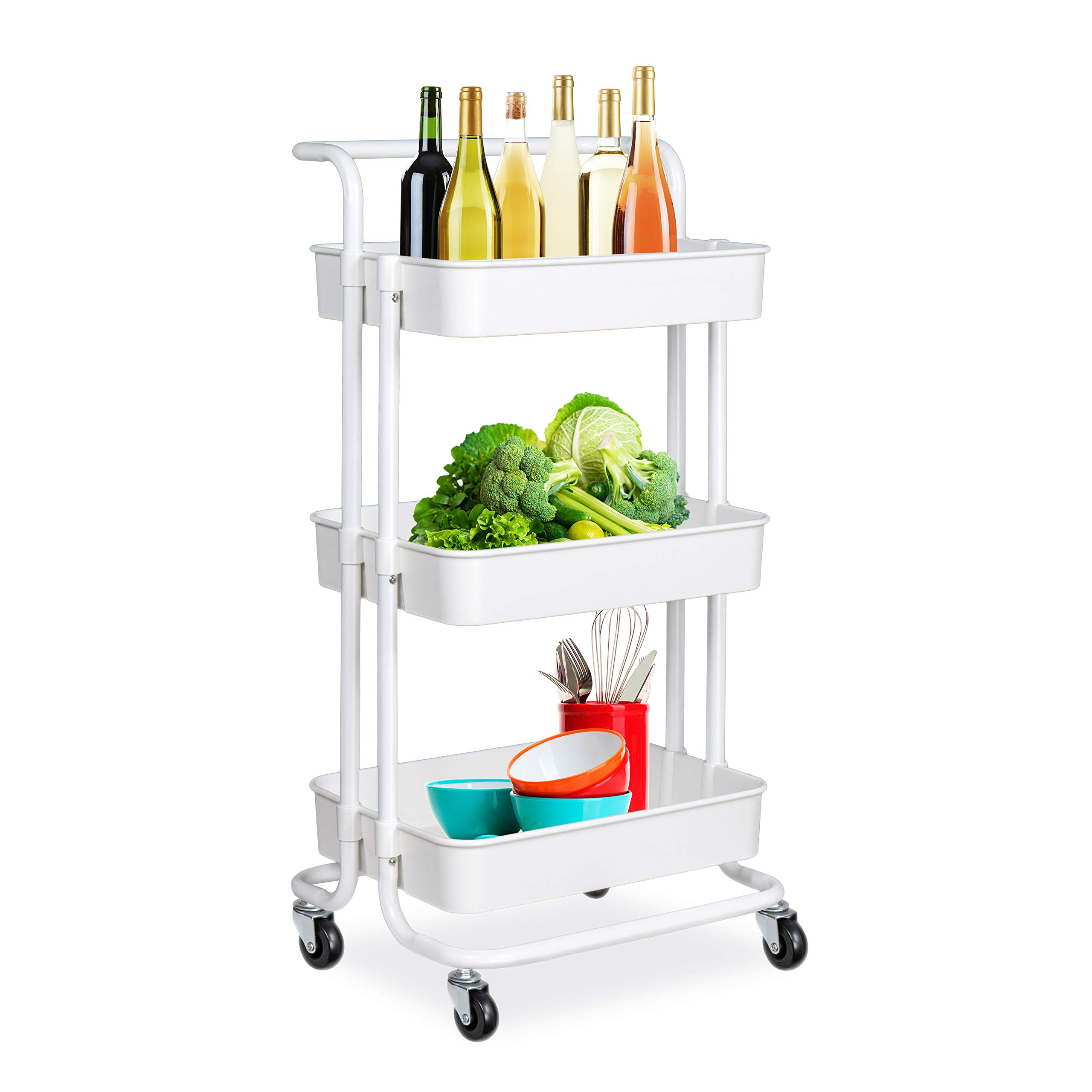 alvorog 3-Tier Rolling Utility Cart Storage Shelves Multifunction Storage Trolley Service Cart with Mesh Basket Handles and Wheels Easy Assembly for Bathroom, Kitchen, Office (White) by alvorog