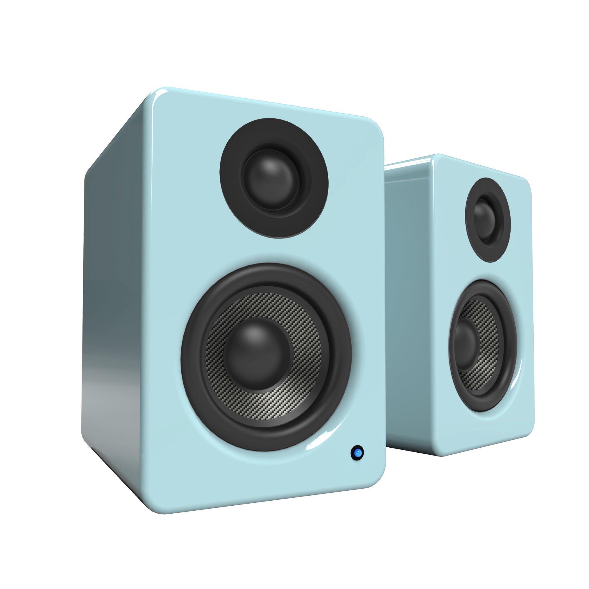 Kanto YU2 Powered Desktop Speakers – 3'' Composite Driver 3/4'' Silk Dome Tweeter – Gloss Teal