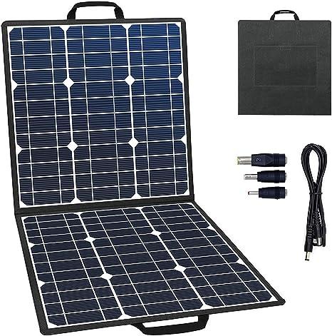 GOFORT Cargador Solar portátil Plegable de 18 V 50 W con Panel Solar de Alta eficiencia, Resistente al Agua, batería de Respaldo para Camping, ...