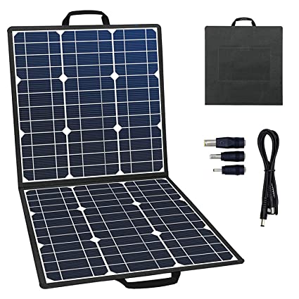 GOFORT Portable Foldable Solar Panel Charger 50W 18V Solar Charger for Suaoki/Jackery/Enkeeo/ROCKPALS Portable Power Station Generator for Outdoor ...