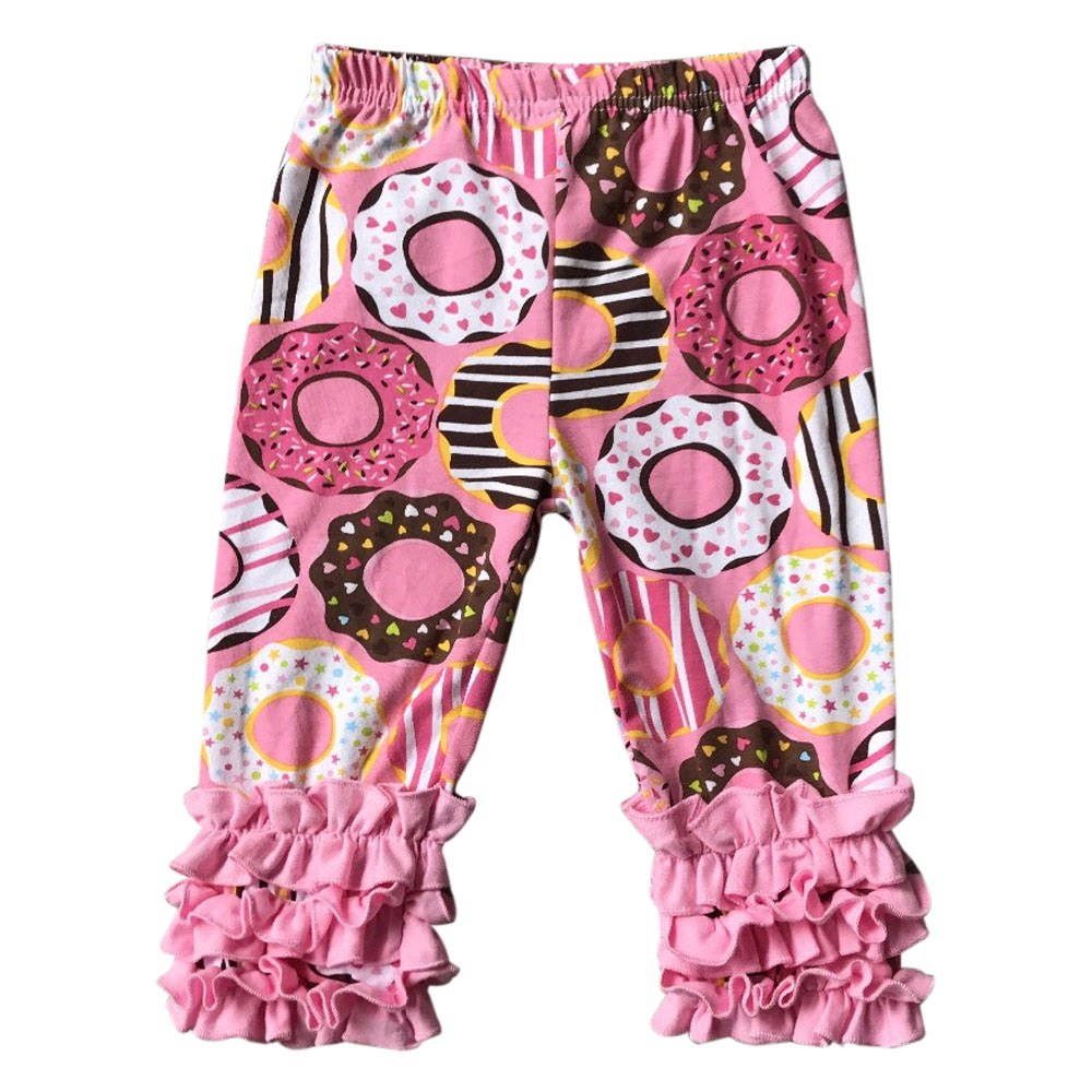 BluNight Collection Little Girl Kids Doughnut Print Outfits Capris Ruffles Spring Cotton Pants 2T-8