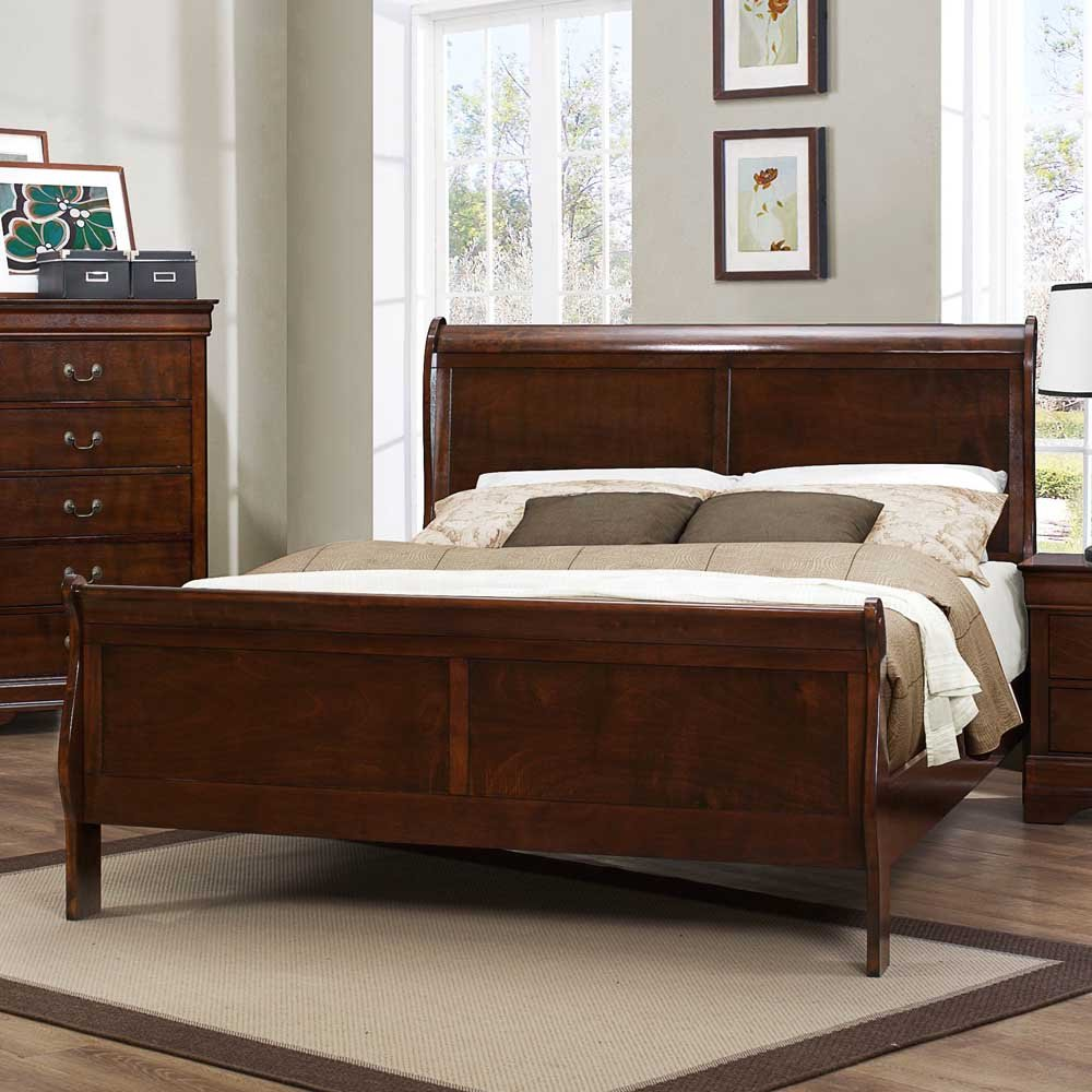 amazoncom homelegance mayville sleigh bed in brown cherry queen kitchen u0026 dining