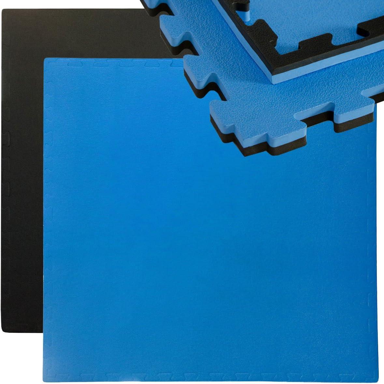 EYEPOWER Tapis Puzzle de Sport 90x90cm en Mousse EVA 25mm d/épaisseur Extensible INCL encadrement Noir Bleu