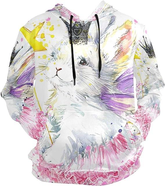 Kjiurhfyheuij 3D Print Teens Pullover Hoodies Pink Rabbits Fleece Hooded Sweatshirt for Boys Girls
