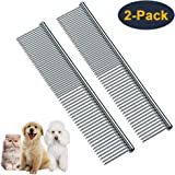 HEYUS [2 Pack] Pet Grooming Comb, Stainless Steel Pet Grooming Massaging Kit Dog Comb Steel Comb Pin Comb Dog Shedding…