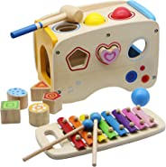 FORUP Wooden Shape Sorter Bus with Slide Out Xylophone, Wooden Musical Pounding Toy, Baby Color Recognition and Geometry Lea