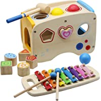 FORUP Wooden Shape Sorter Bus with Slide Out Xylophone, Wooden Musical Pounding Toy, Baby Color Recognition and Geometry…