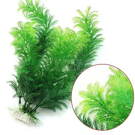 Planta artificial verde de plástico para pecera, acuario, beneficios para tu acuario
