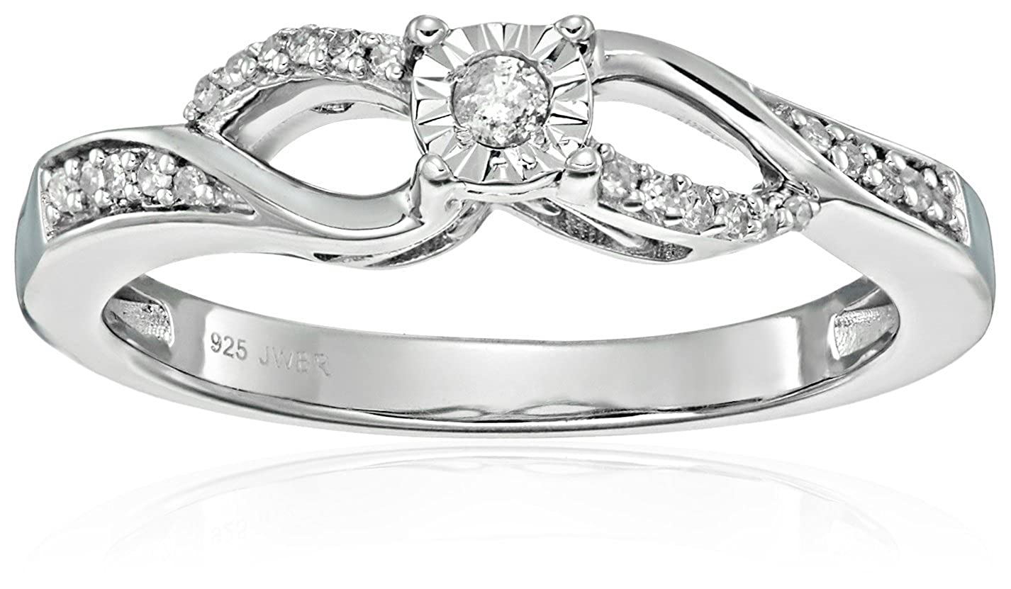 Sterling Silver Diamond Anniversary Ring (1/10 cttw, I-J Color, I2-I3 Clarity) Size 6 Amazon Collection