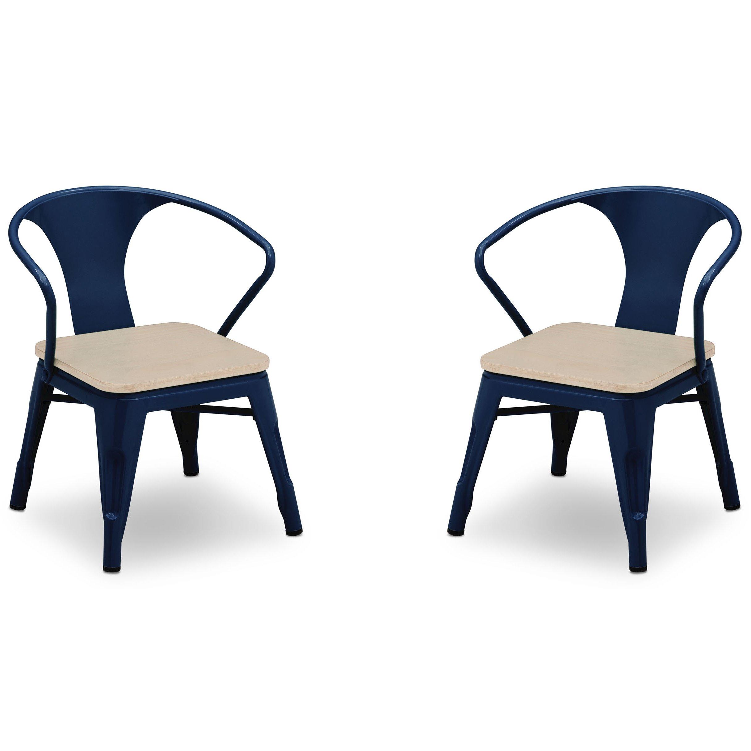 Delta Children Bistro 2-Piece Chair Set, Navy with Driftwood