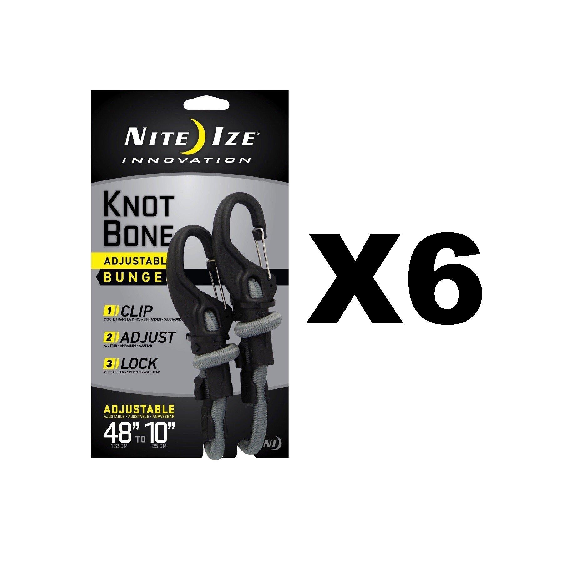 Nite Ize KnotBone Adjustable Bungee Large 9mm 10''-48'' w/ Carabiner Clip (6-Pack)