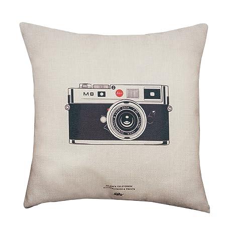 BIGBOBA Lino sofá almohada de funda retro cámara patrón suave decorativo Sofá almohada funda de cojín 45 * 45 cm