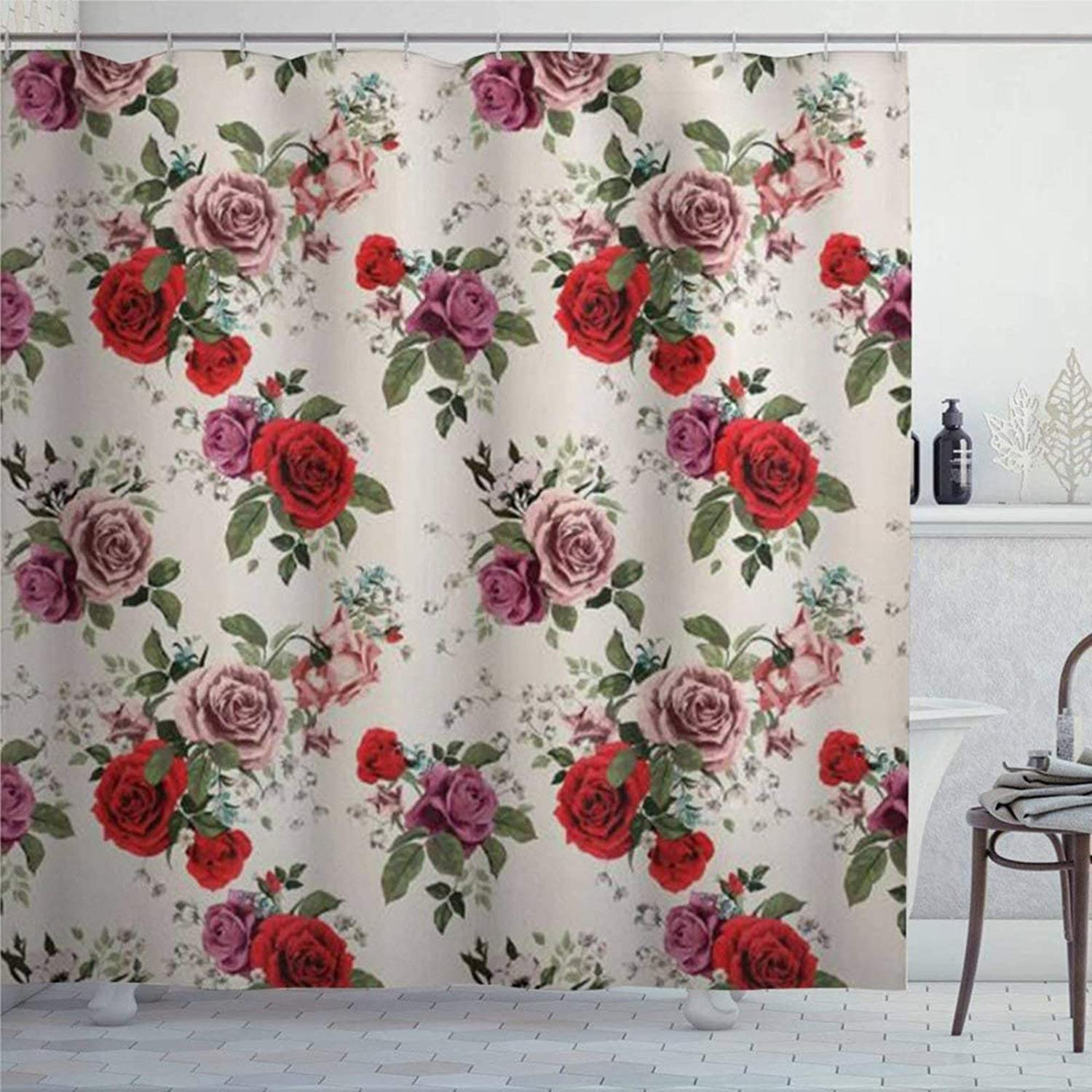 EricauBird Garden Floral Repeating Pattern of Romantic Roses Spring Love Themed Shower Curtain with Rings Polyester Fabric Shower Curtains with Hooks Bath Bathroom Decor 72x72 inch