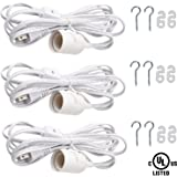 Extension Hanging Lantern Lamp Cord Cable, SooFoo 11.5' Feet Extension Pendant Light Cable with On/Off Gear Switch, E26/E27 Lamp Socket Support Max 660W ,UL Listed ,3Pack