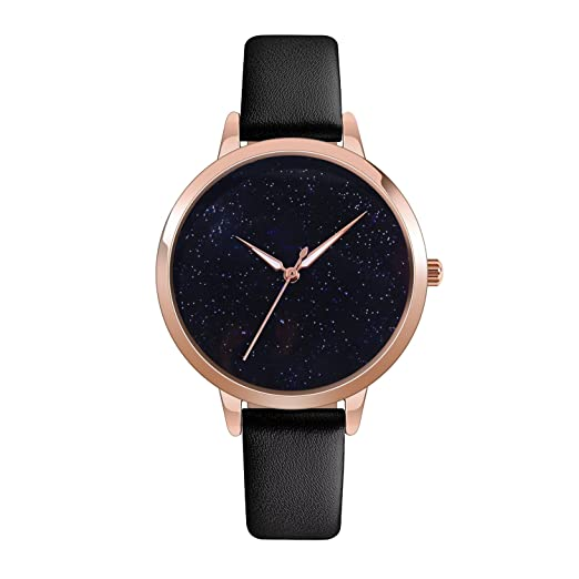 362521cabd82 Quartz Watch Womens Waterproof Lady Watch Wrist Watch Creative Starlight  Dial Birthday Gift with Genuine Leather