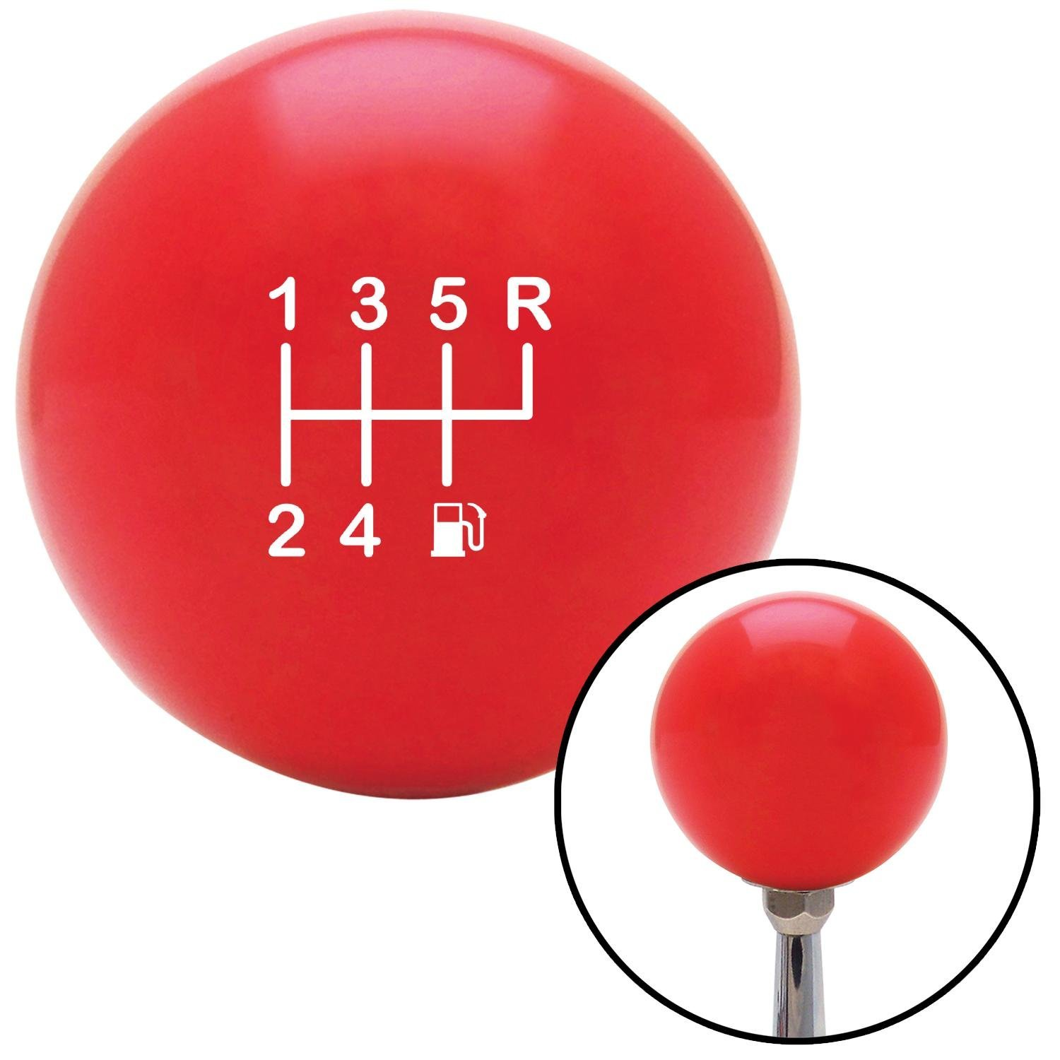 Company White 6 Speed Shift Pattern - Gas 26 Red with M16 x 1.5 Insert American Shifter 271956 Shift Knob