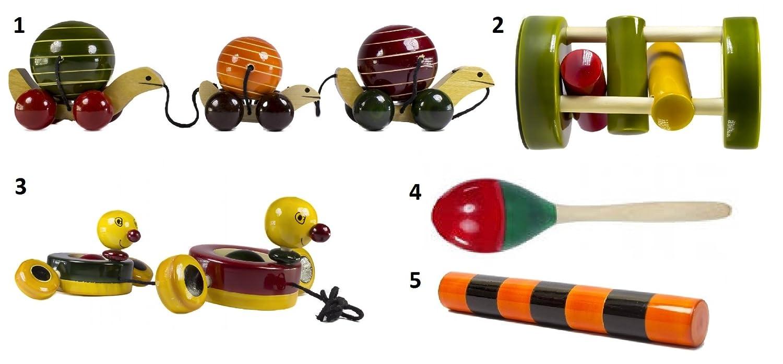 5 Pieceベビー木製Rattles and Cars Toys Set :モデルrw-gl004   B06XFL47TL