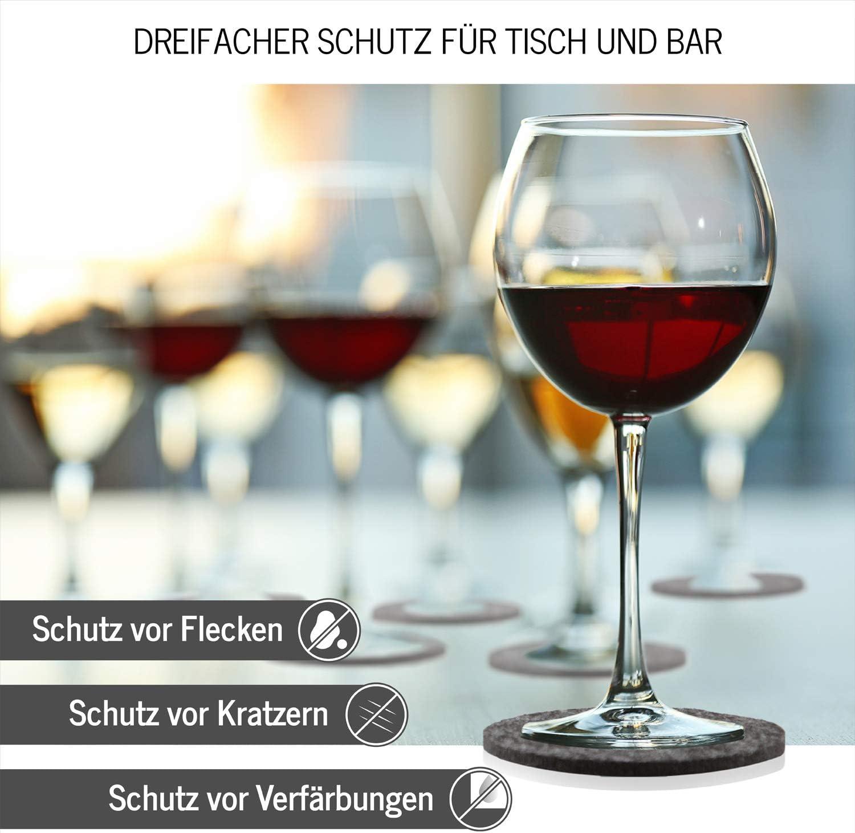 DINING concept Lot de 10 sous-Verres Ronds en Feutre avec bo/îte de Rangement I Premium en Feutre Lavable I Design Tassen-Dessous-de-Verre en Feutre Gris fonc/é