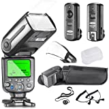 Neewer® NW565EX Professional E-TTL Slave Flash Speedlite Kit for Canon DSLR Cameras- Includes: Neewer Auto-Focus Flash+2.4G Wireless Trigger+C1/C3 Cables+Hard & Soft Diffuser+Lens Cap Holder