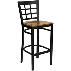 Flash Furniture HERCULES Series Black Window Back Metal Restaurant Barstool - Cherry Wood Seat