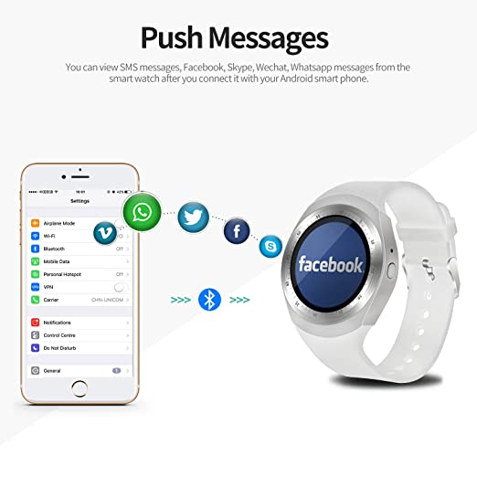SEPVER Smart watch SN05 Round Smartwatch Pedometer Fitness Tracker with SIM  TF Card Slot Calls Notifications for IOS Android Samsung Huawei Sony LG