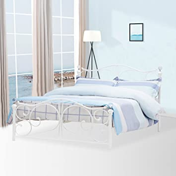 mecor Double White Metal Bed Frame Crystal Finials with Headboard ...