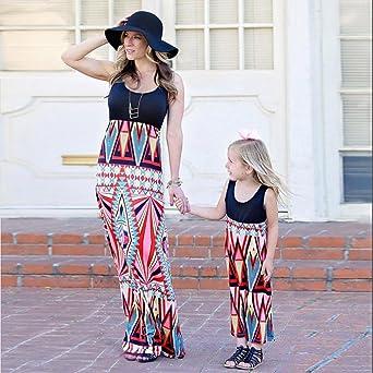 Amazon.com: POHOK HOT! Mommy &Me Children Girls Print Princess Sundress Dress Casual Family Clothes: Clothing