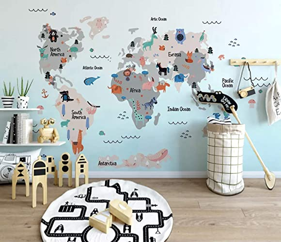 Amazon.com: Murwall Kids Wallpaper Kids World Map Wall Mural ...