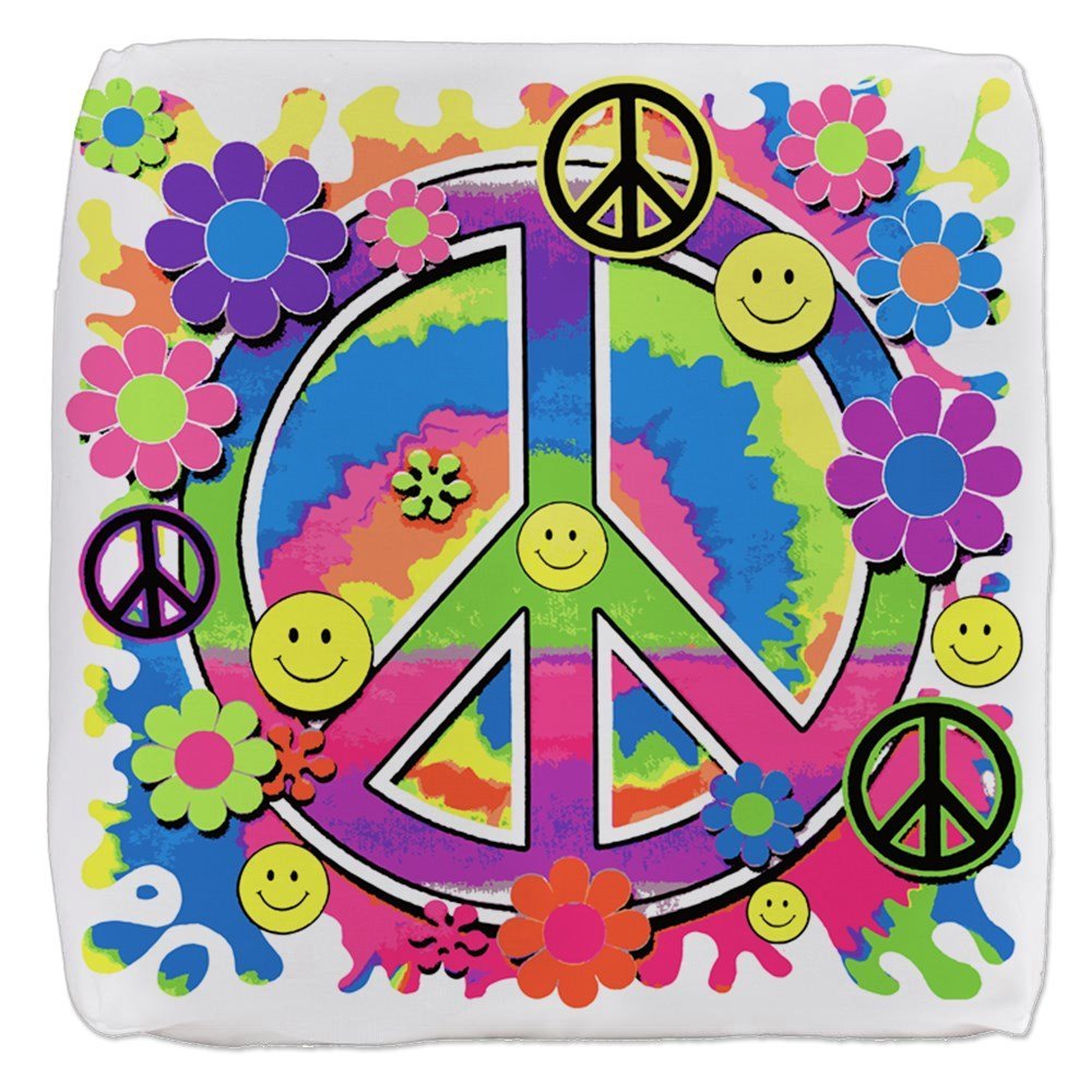 18 Inch 6-Sided Cube Ottoman Neon Smiley Face Floral Peace Symbol by Royal Lion
