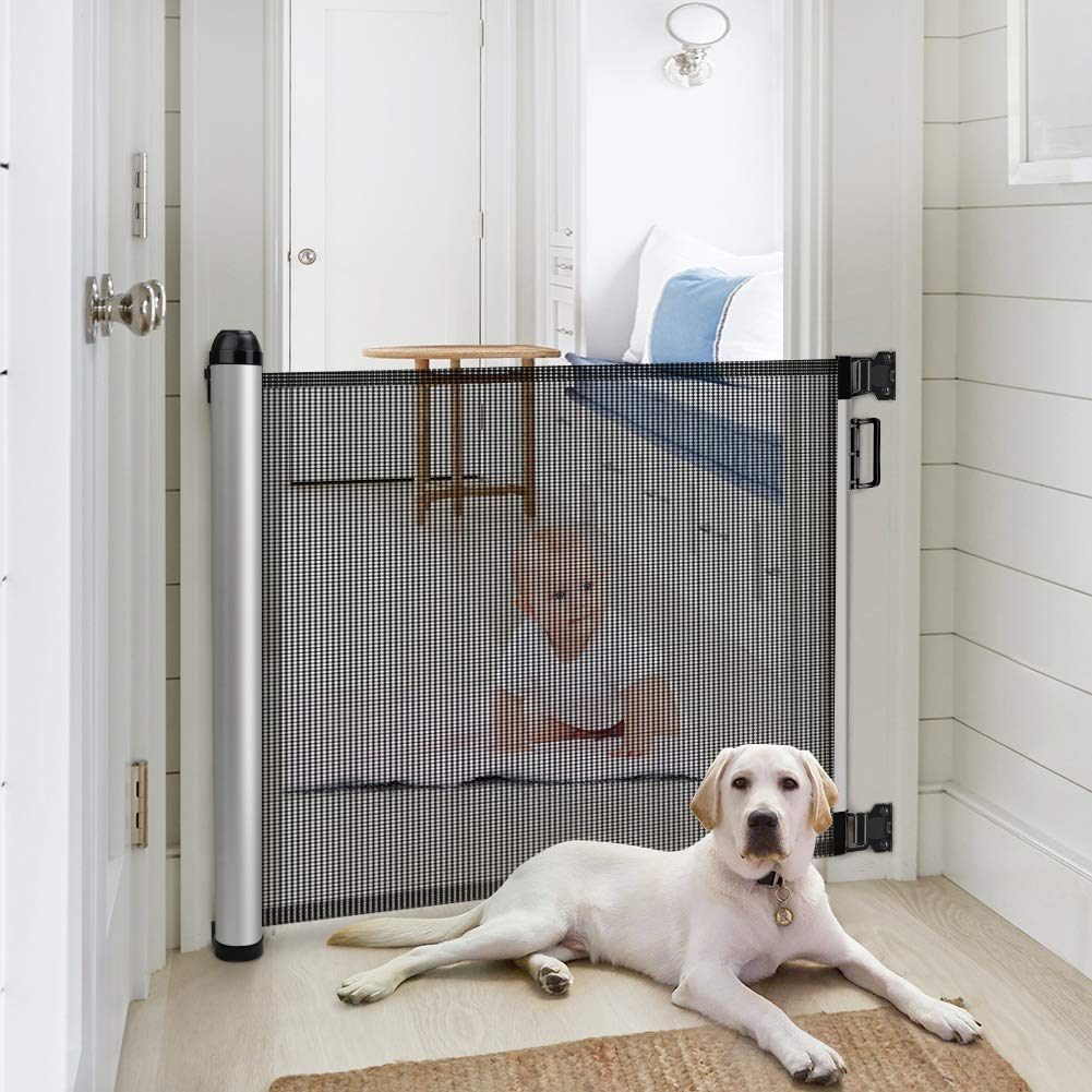 Baby Safety Gate Minkind Extension Extra Wide Child Gate Indoor Outdoor Retractable Gate For Doorways Stairs Doors 34 6 Tall Extends Up To 48 Wide Black Baby