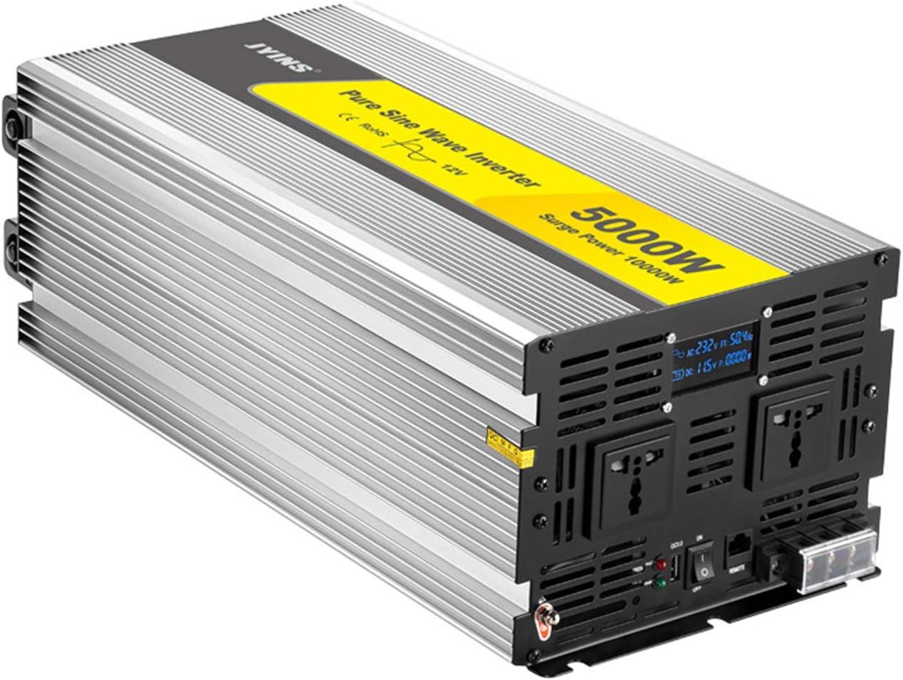 WMNRNYD Inversor de energía de Onda sinusoidal Pura de 5000 W (10000 W de Potencia máxima) con Pantalla LCD, Puertos USB 2.1A QC 3.0 y 2 Salidas de CA para RV de Viaje,12v,220V