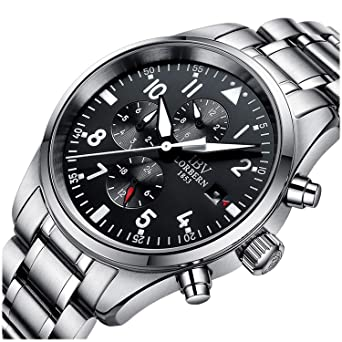 9008b23c0 Amazon.com: IBV Mens Pilot Military Watch Automatic Mechanical Days ...