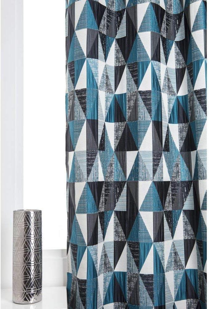 Rideau Tamisant 140 x 260 cm /à Oeillets Jacquard Poch/é Motifs G/éom/étriques Bleu P/étrole