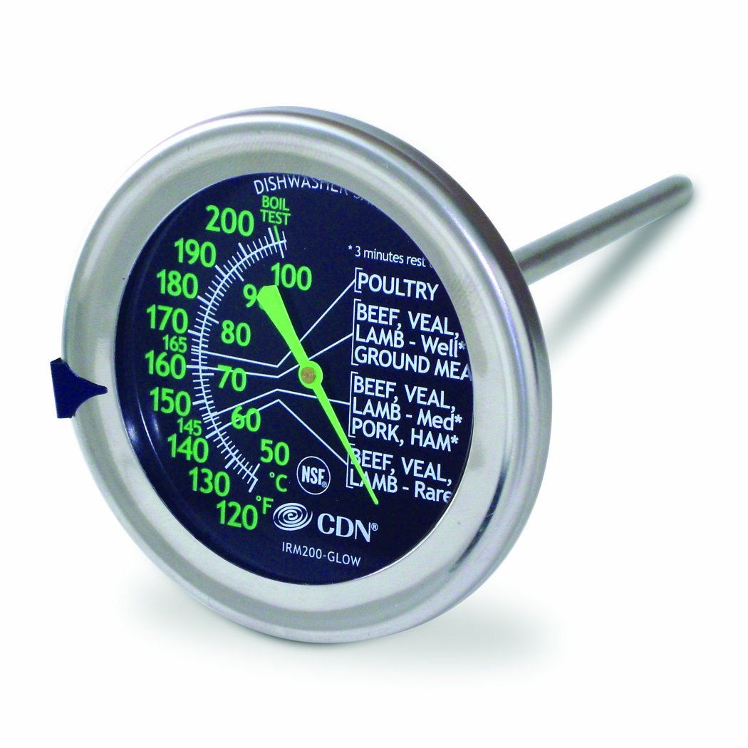 CDN IRM200-GLOW - ProAccurate Meat/Poultry Oven Thermometer-Extra Large Glow-in-the-Dark Dial