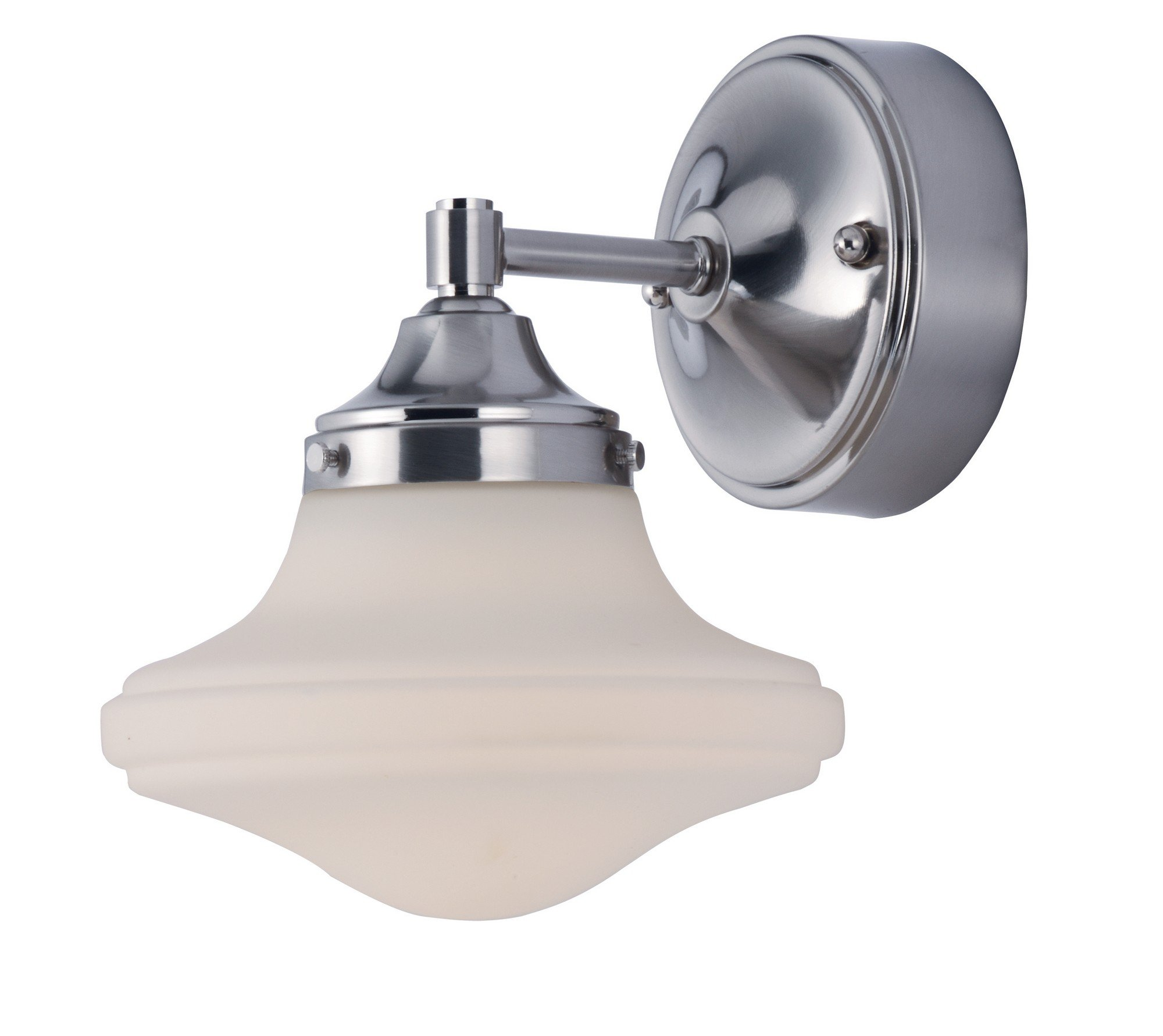 Maxim 30242SWSN New School LED Wall Sconce, Satin Nickel Finish, Satin White Glass, PCB LED Bulb , 0.16W Max., Dry Safety Rating, 2900-5000K Color Temp, Shade Material, Rated Lumens