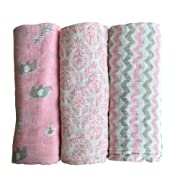 Muslin Baby Swaddle Blankets by LANCON Kids (3 Pack) - 100% Cotton, Soft, Stylish, Multi-Use Blankets 47 x 47 (Pink/Gray/White - Chevron, Floral, Safari Collection)