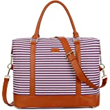 BAOSHA HB-28 Ladies Women Canvas Travel Weekender Overnight Carry-on Shoulder Duffel Tote Bag with PU Leather Strap (Purple)