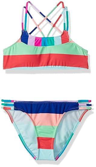 Hobie Girls Big Bralette Top /& Side Strap Hipster Bottom Swimsuit Set
