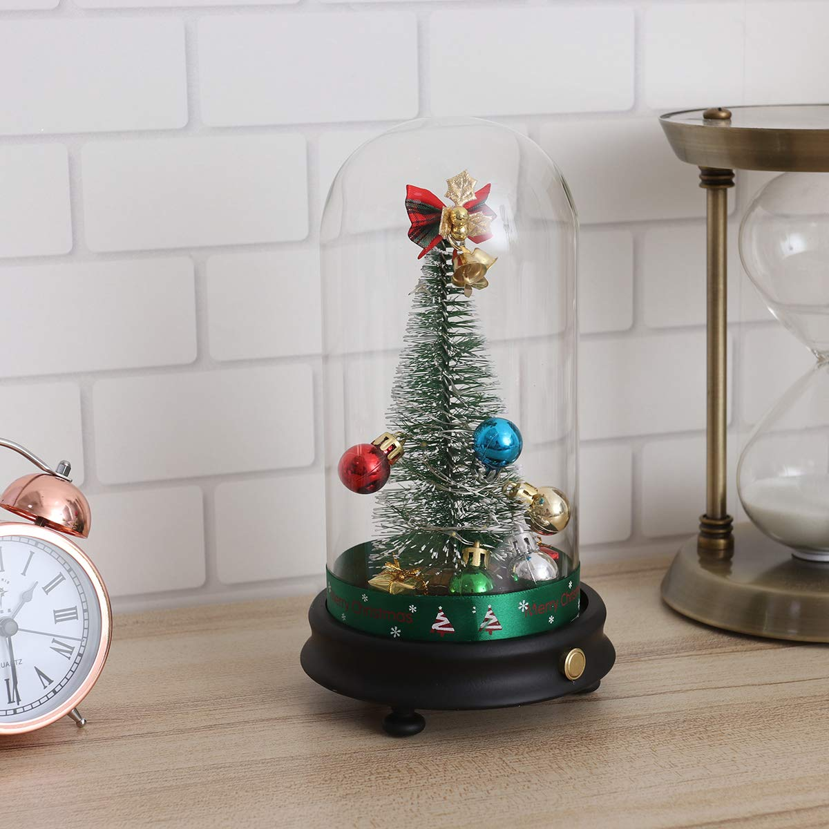 Button Pattern BESTOYARD Pre-lit Christmas Tree in a Glass Dome on A Wooden Base LED Light up Christmas String Light Xmas Party Table Decoration Not Included Battery