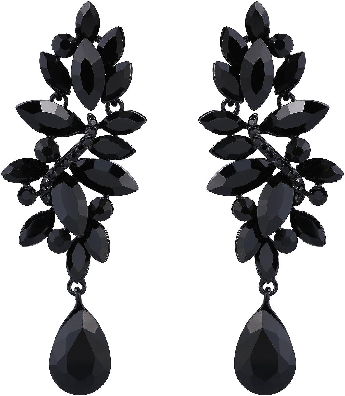 Clearine Mujer Boda Moda Cristal Lágrima Candelabro Colgante Pendientes Elegante Cótico Negro