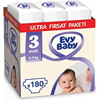 Evy Baby Bebek Bezi, 3 Beden Midi, Ultra Fırsat Paketi, 180 Adet