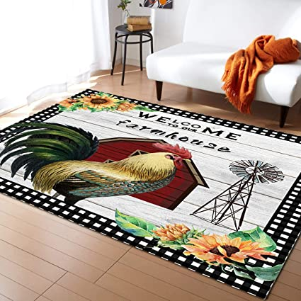 Amazon Com Non Slip Area Rugs Room Mat Farm Style American Country Rooster With Sunflower Home Decor Floor Carpet For High Traffic Areas Modern Rug Kitchen Mats Living Room Pads 5 X 8