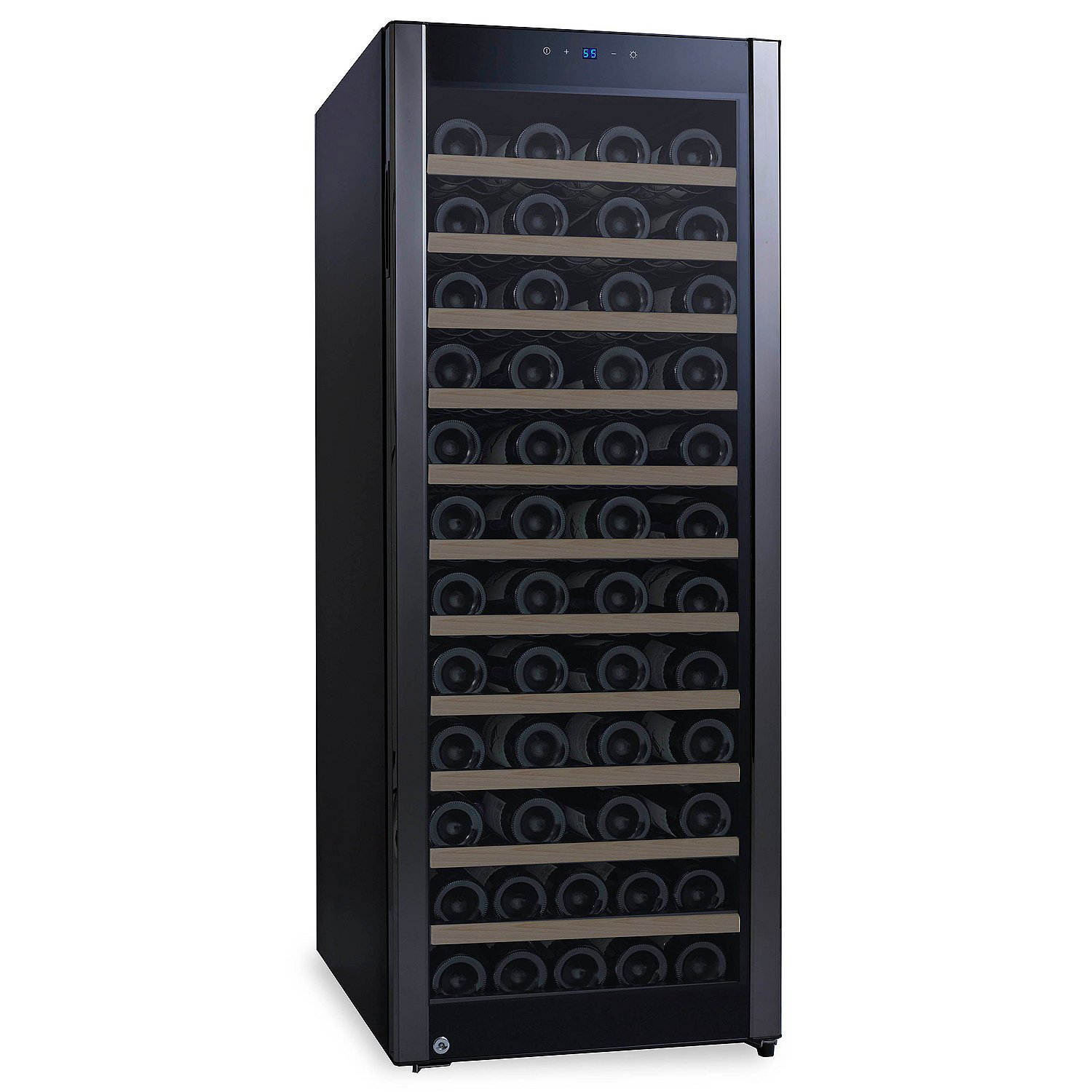 80-Bottle Evolution Series Wine Refrigerator Black Stainless Door - Natural Wood