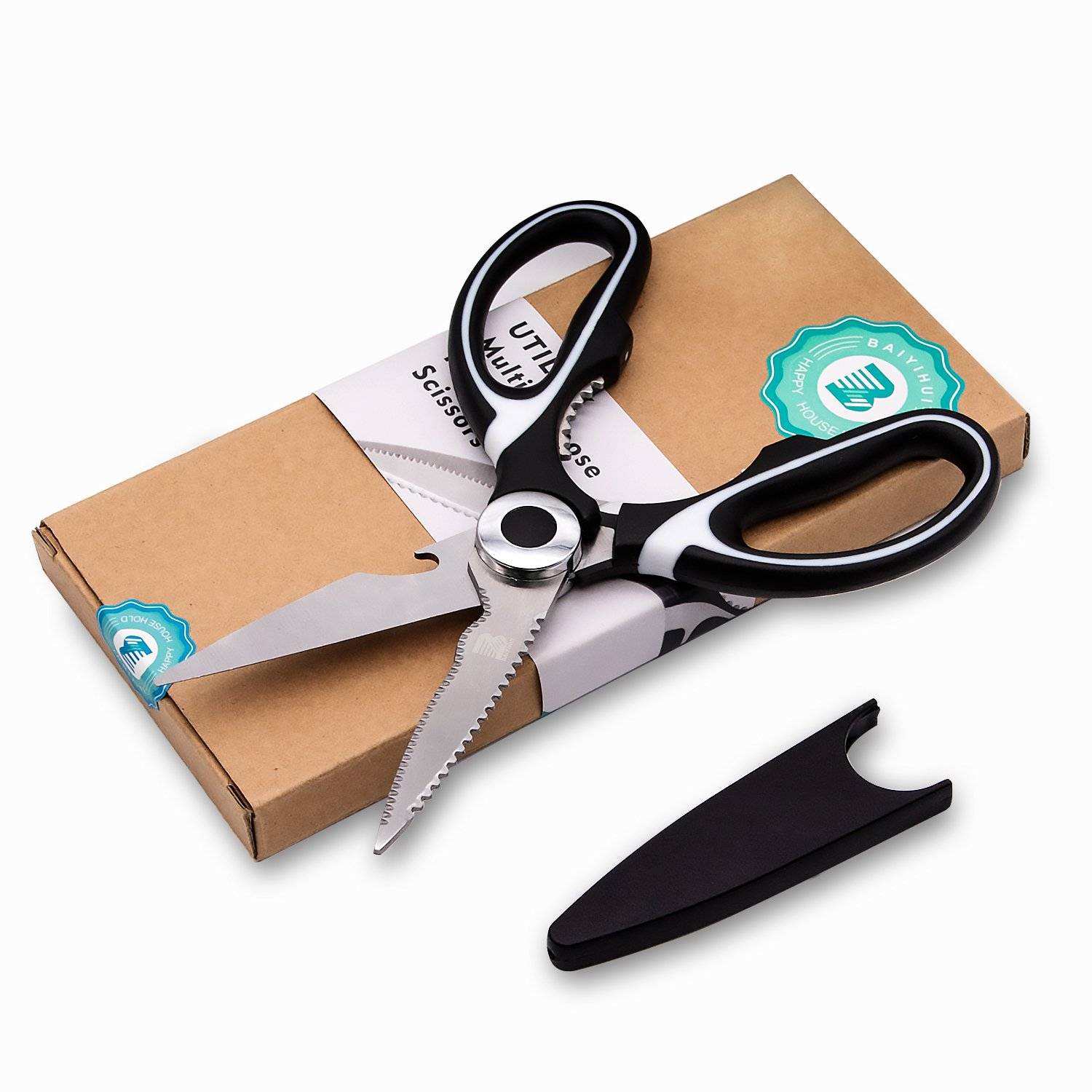 Baiyihui Multi-Purpose Kitchen Scissors, Professional SUS304 (18/8) Stainless Steel Heavy Duty Sharp Shears for Chicken, Meat, Fish, Poultry, Vegetables, Herbs, Nuts, BBQ, Wine Bottle Cap