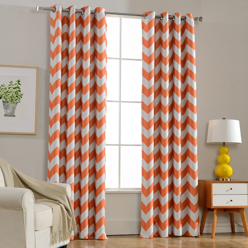 Orange Melodieux Chevron Room Darkening Blackout Grommet Top Curtains