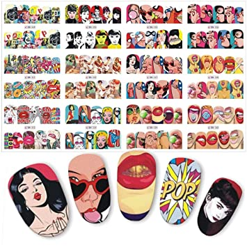 Amazon Com Nail Decals Stickers Nail Art Stickers For Women Girls Sexy Lips Cool Girls Nail Transfer Stickers Decorations 120 Patterns 12 Sheets Set Beauty